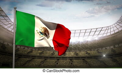 Mexico national flag waving on stad - Mexico flag waving on...