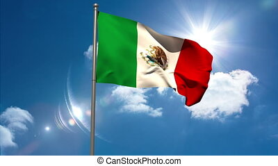 Mexico national flag waving