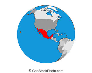 Mexico on 3D globe isolated