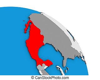 Mexico on 3D globe