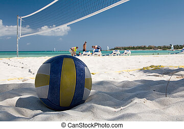 mexico on beach ball and net
