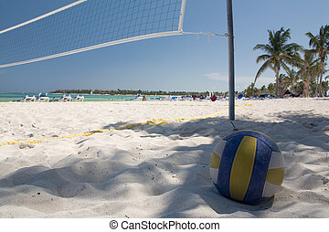 mexico on beach valleyball net