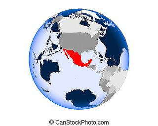 Mexico on globe isolated