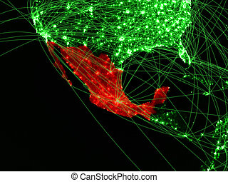 Mexico on green map