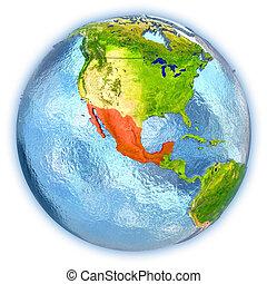 Mexico on isolated globe