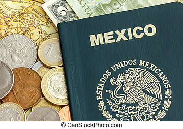 Mexico passport and world currency - Passport of the Estados...