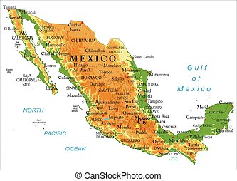 Mexico physical map - Highly detailed physical map of...