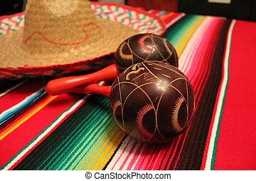 Mexico poncho sombrero maracas background fiesta cinco de mayo decoration bunting