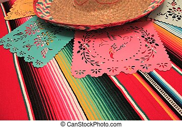 Mexico poncho sombrero skull background fiesta cinco de mayo...