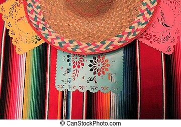 Mexico poncho sombrero skull background fiesta cinco de mayo decoration bunting flags
