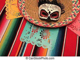 Mexico poncho sombrero skull background fiesta cinco de mayo