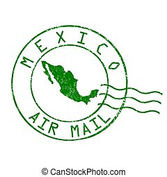 Mexico post office, air mail stamp