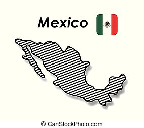 mexico poster with monochrome map striped and mexican flag in colorful silhouette