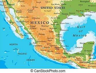 Mexico-relief map - Highly detailed physical map of...