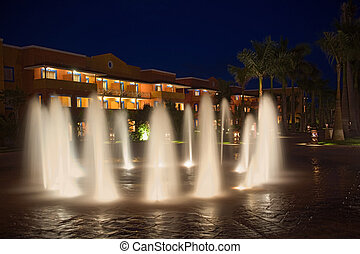 mexico resort waterworks and hotel at night