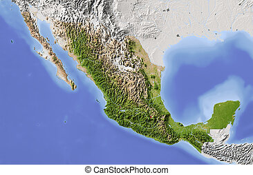 Mexico, shaded relief map - Mexico. Shaded relief map....
