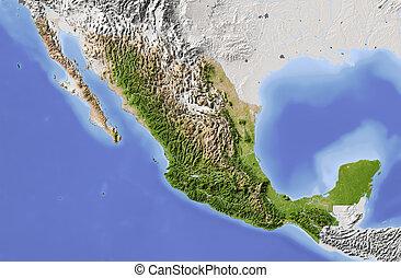 Mexico, shaded relief map - Mexico. Shaded relief map....