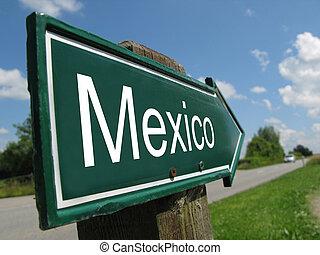 Mexico signpost along a rural road