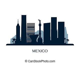 Mexico skyline, monochrome silhouette.
