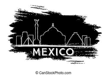 Mexico Skyline Silhouette. Hand Drawn Sketch.