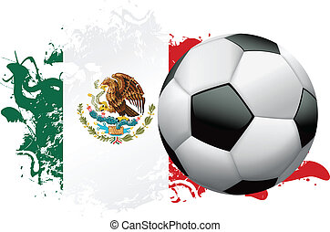 Soccer ball with a grunge flag of Mexico. Vector EPS 10 available. EPS file contains transparencies and gradient mesh.