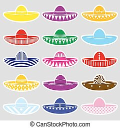 Mexico sombrero hat variations stickers set eps10