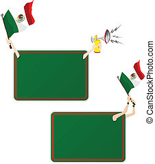 Mexico Sport Message Frame with Flag. Set of Two