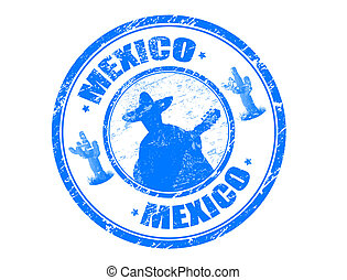Abstract blue grunge rubber stamp with Mexican mariachi playing with guitar, small saguaros and the name Mexico written inside the stamp