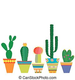 Mexico style pots with cactus flowers