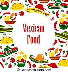 Mexico symbols frame. Mexican food and sombrero