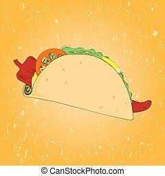 Mexico Taco Sketch Vector