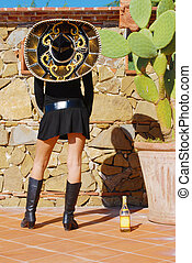 Mexico Tequila - girl with sombrero, boots and tequila...