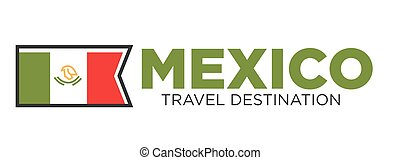 Mexico travel destination banner - Vector illustration of...
