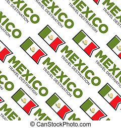 Mexico travel destination national flag seamless pattern