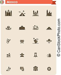 Mexico travel icon set - Set of the Mexico traveling related...