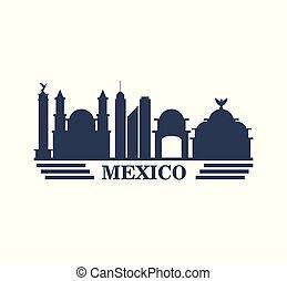 mexico travel landmarks silhouette
