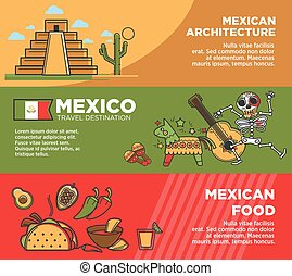 Mexico travel tourism famous landmarks and tourist attractions traditional cuisine vector banners