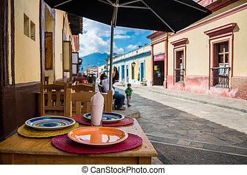 Mexico typical street in San Cristobal de Las Casas. Town locate