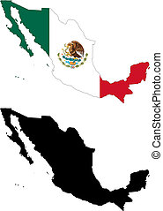 mexico - vector map and flag of Mexico with white...
