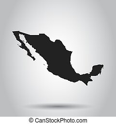 Mexico vector map. Black icon on white background.