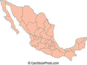 Mexico with Administrative Districts - Mexico, editable...