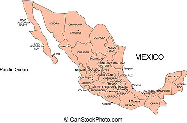 Mexico with Administrative Districts
