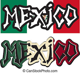Mexico word graffiti different style. Vector illustration.