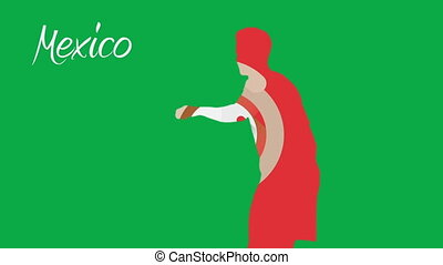 Mexico world cup 2014 animation with player in green and red
