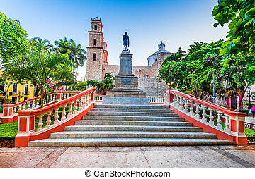 mexikó, -, város, félsziget, yucatan, gyarmati, merida