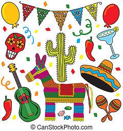 mexikói, fiesta, clipart, ikonok