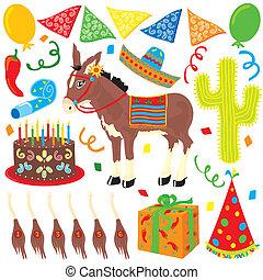 mexikói, fiesta, születésnapi parti