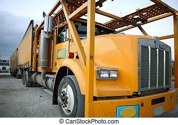 mexikói, szín, sárga, csereüzlet, parkolt, teherautó
