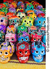mexikói, színes, holt, aztec, koponya, nap