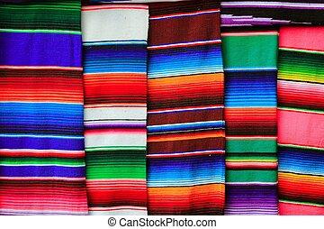 mexikanare, tyg, färgrik, mönster, struktur, serape